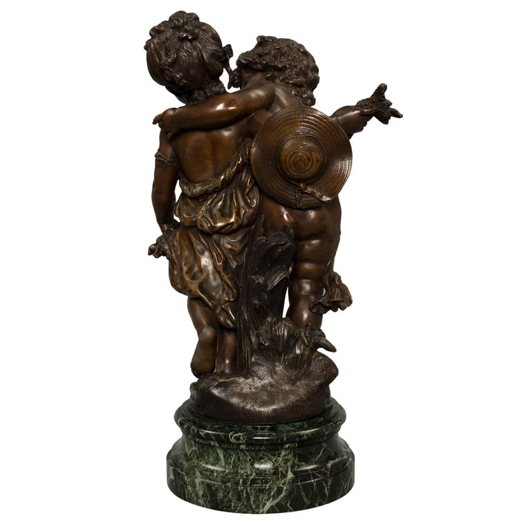 French 19th Century Patinated Bronze Entitled 'Chemin Des Roses' by August Morea In Excellent Condition For Sale In West Palm Beach, FL