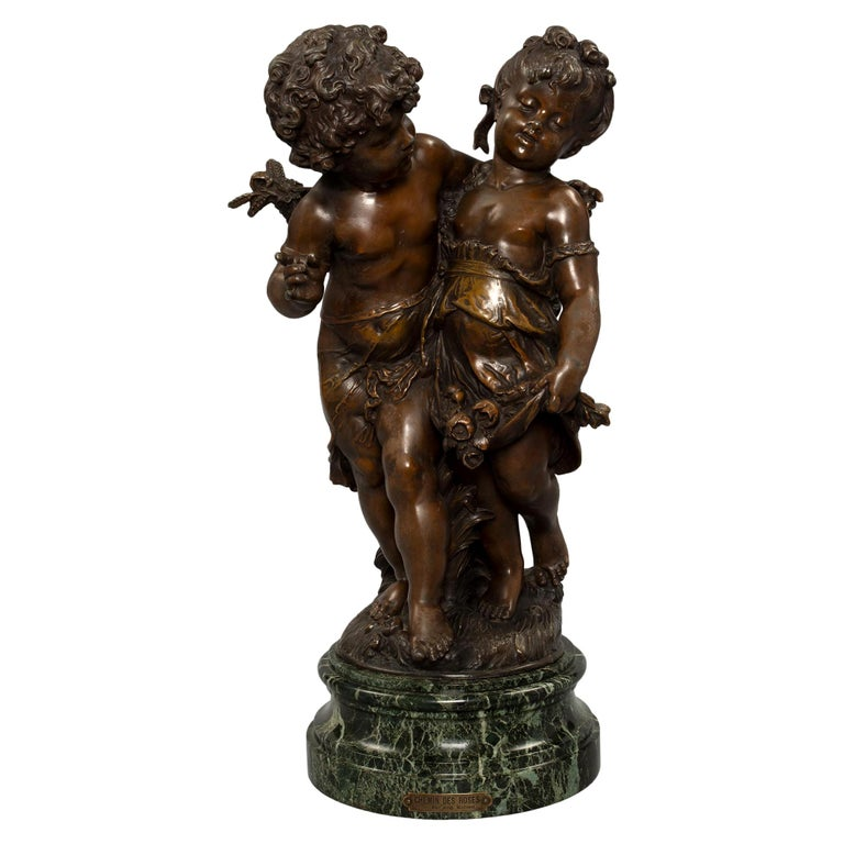 French 19th Century Patinated Bronze Entitled 'Chemin Des Roses' by August Morea For Sale