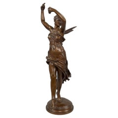 French 19th Century Patinated Bronze of a Smiling Psyche