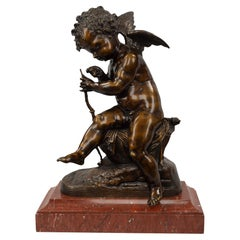 French 19th Century Patinated Bronze Statue, after Charles Gabriel Lemire