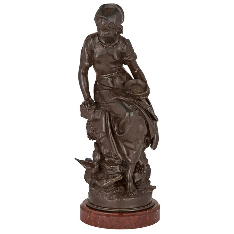 French 19th Century Patinated Bronze Statue For Sale