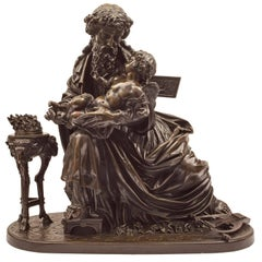 French 19th Century Patinated Bronze Statue of a Man and Child