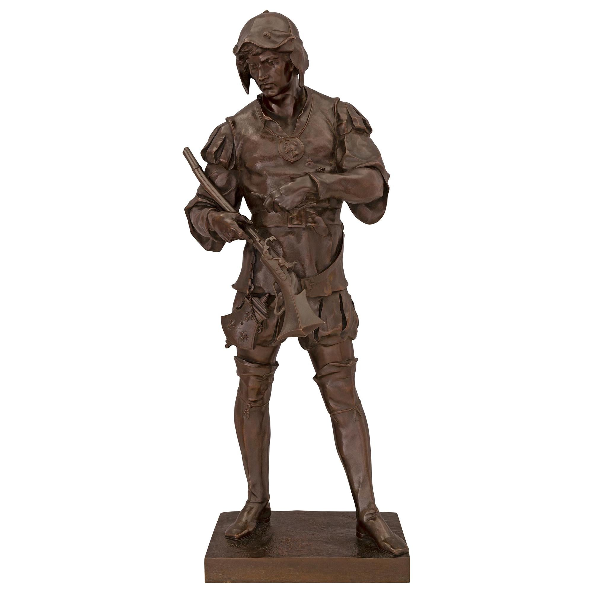 French 19th Century Patinated Bronze Statue of a Soldier, Signed E. Picault