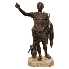 French 19th Century Patinated Bronze Statue of Augustus of Prima Porta