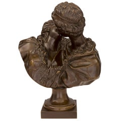 French 19th Century Patinated Bronze Statue of Le Baiser Donné