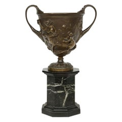 French 19th Century Patinated Bronze Tazza on a Black Belgium Marble Base