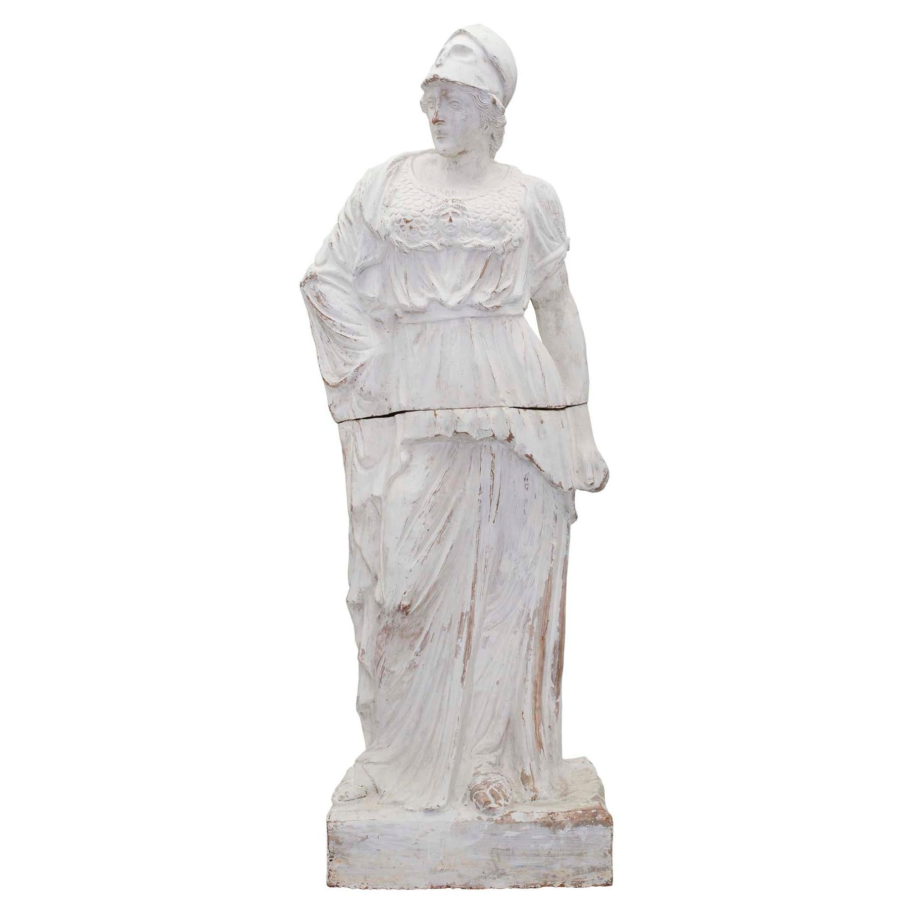 French 19th Century Patinated Terracotta Statue of a Maiden