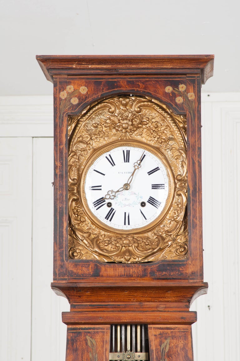 Faux Bois French 19th Century Pine Tall Case Clock For Sale
