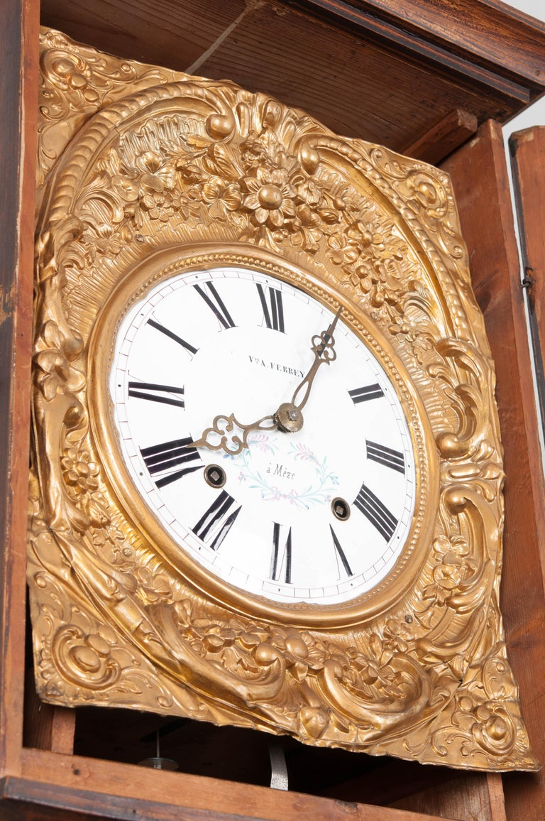 French 19th Century Pine Tall Case Clock In Good Condition For Sale In Baton Rouge, LA