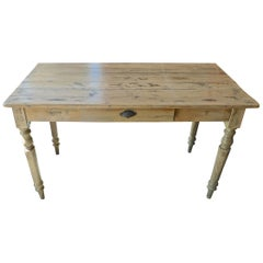 French 19th Century Pinewood Country Breakfast Table with One Centre Drawer