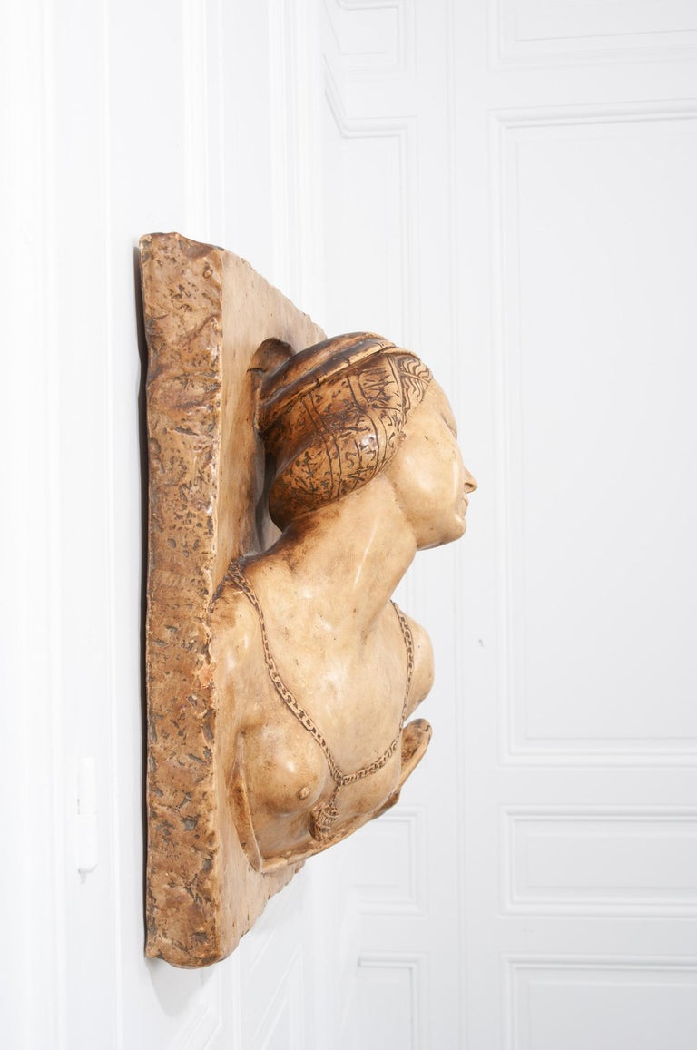 """Stunning French 19th century plaster copy of lady from the Louvre, circa 1850. It has a small plaque on the back """"Musee Du Louvre -Reproduction Interdite - Ateliers de Moulage."""""""