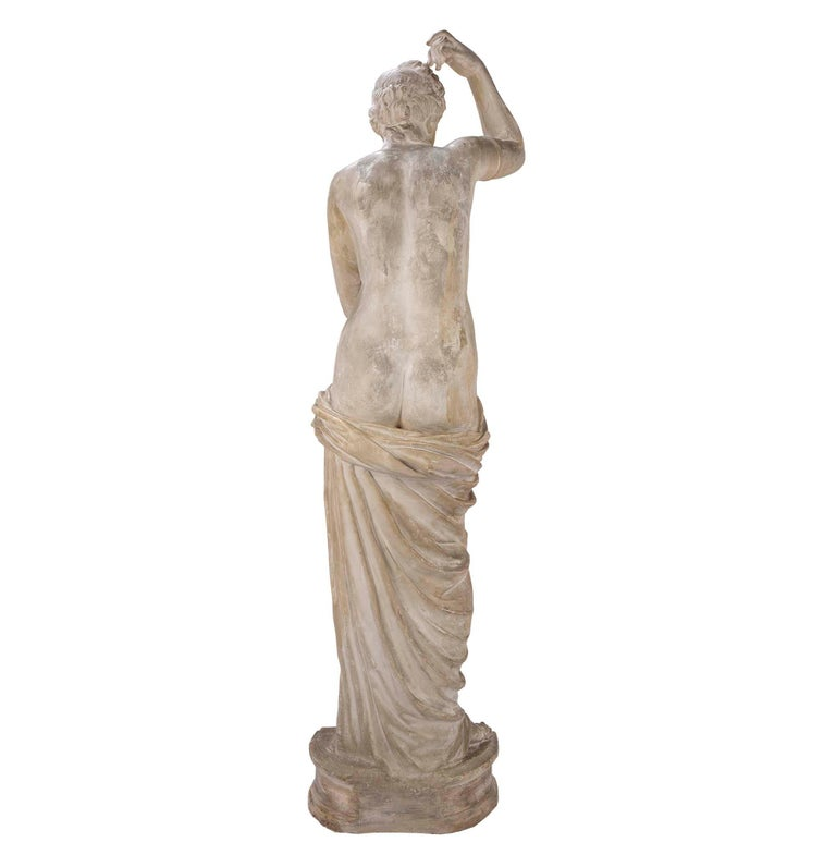 Marble French 19th Century Plaster Neoclassical Style Statue of a Maiden For Sale