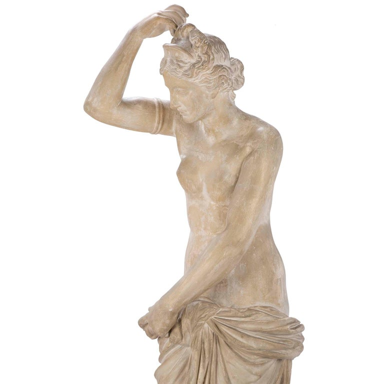 French 19th Century Plaster Neoclassical Style Statue of a Maiden For Sale 1