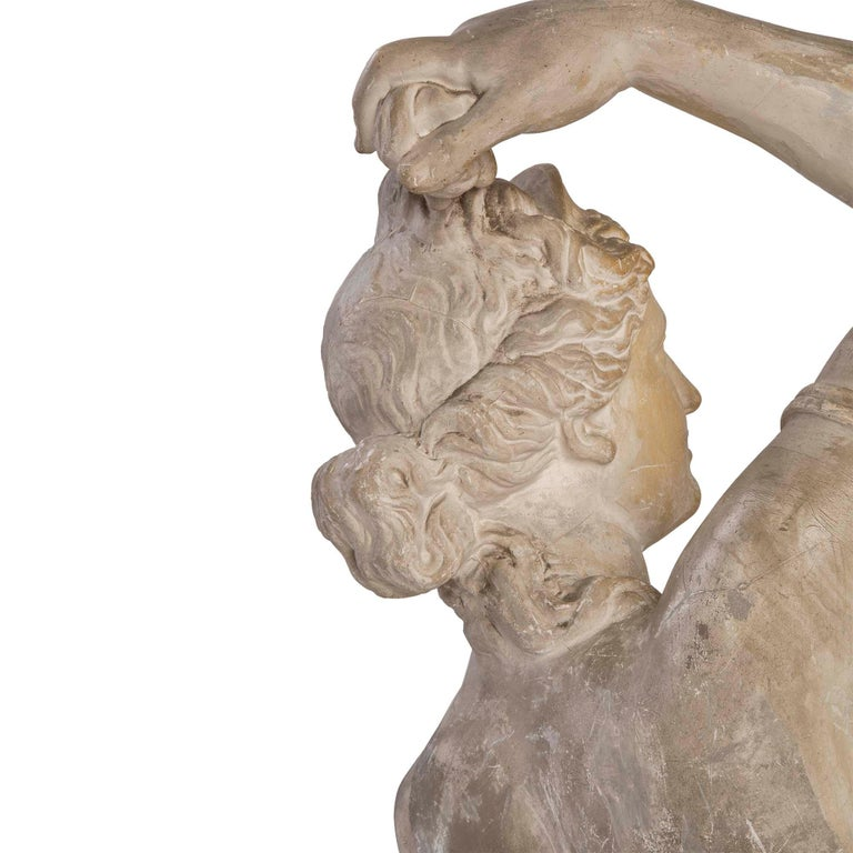 French 19th Century Plaster Neoclassical Style Statue of a Maiden For Sale 3