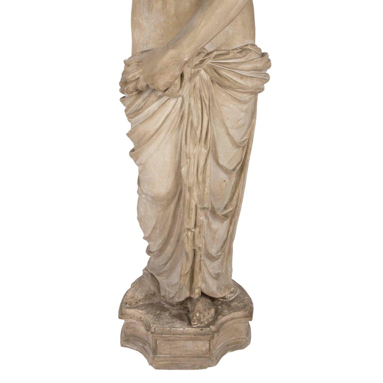 French 19th Century Plaster Neoclassical Style Statue of a Maiden For Sale 4