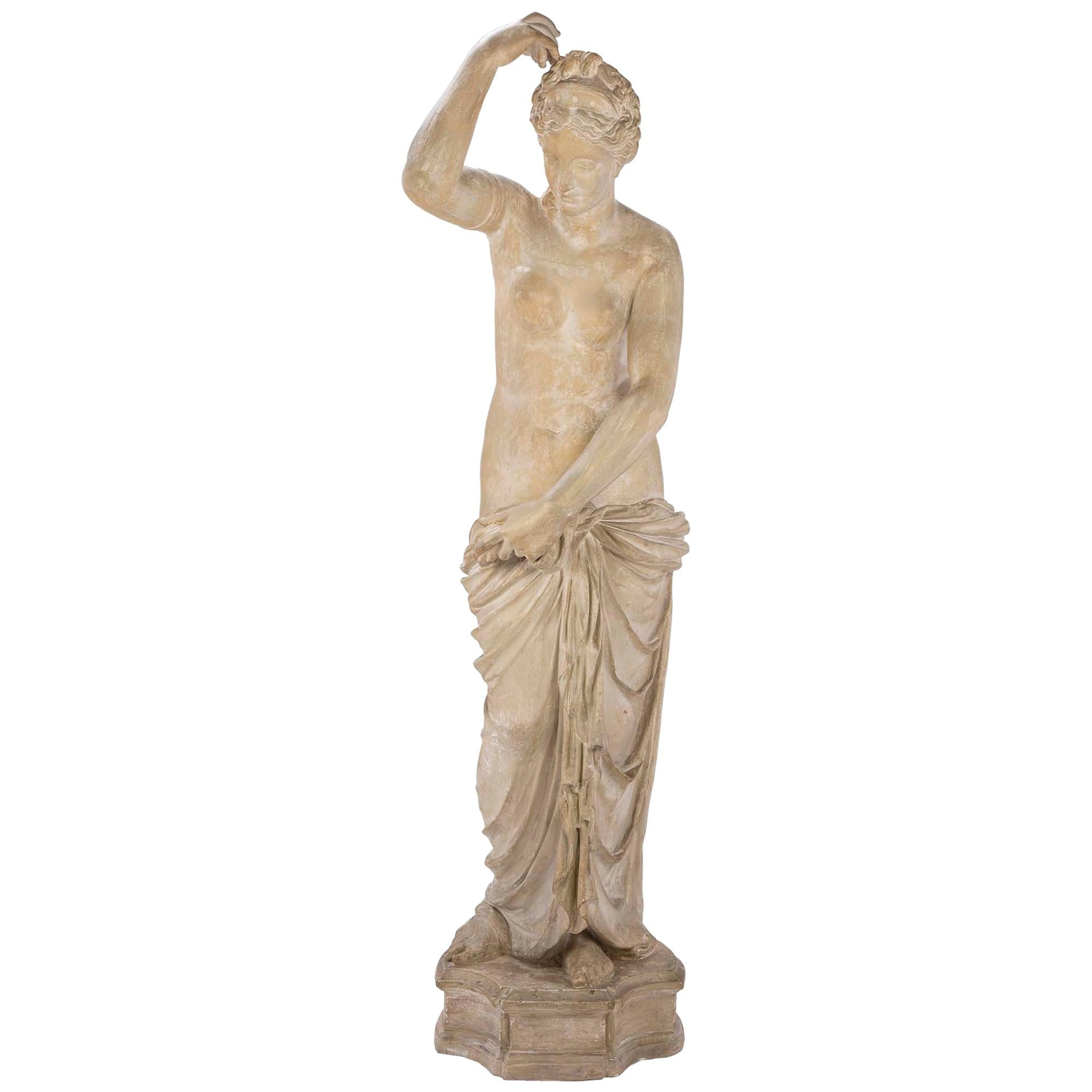 French 19th Century Plaster Neoclassical Style Statue of a Maiden