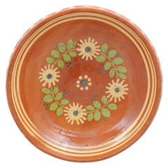 French 19th Century Pottery Bowl with Russet Ground and Green Foliage Motifs