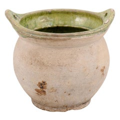 French 19th Century Pottery Hanging Container with Green Glazed Interior