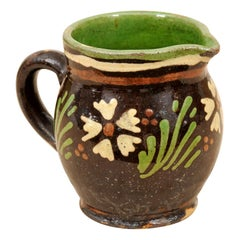 French 19th Century Pottery Pitcher with Brown and Green Glaze and White Flowers