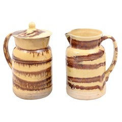 French 19th Century Pottery Pitcher with Cream and Brown Glaze with Dripping