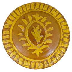 French 19th Century Pottery Soup Plate with Yellow Starburst Pattern and Foliage