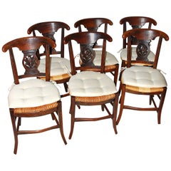French 19th Century Provincial Chestnut, Rush Seated, Set of Six Dining Chairs