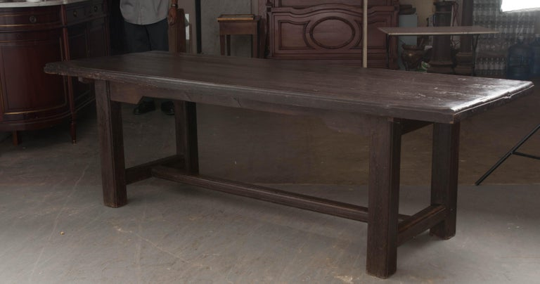 French 19th Century Provincial Oak Trestled Farm Table For Sale 7