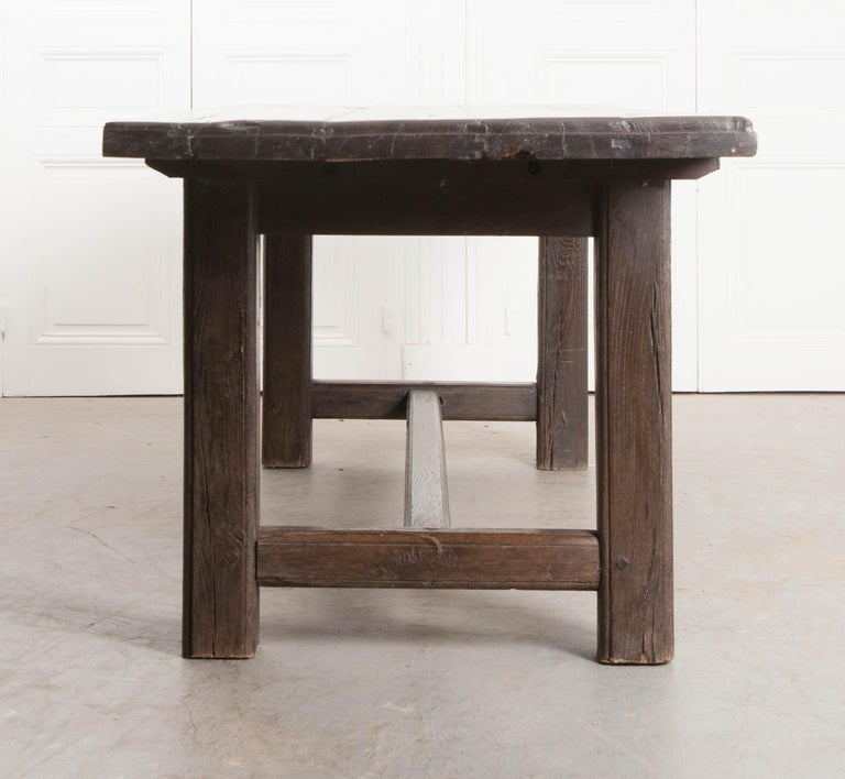 French 19th Century Provincial Oak Trestled Farm Table For Sale 8