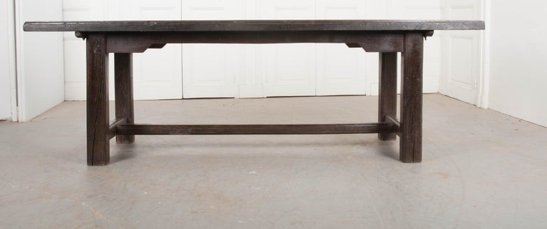French 19th Century Provincial Oak Trestled Farm Table For Sale 9