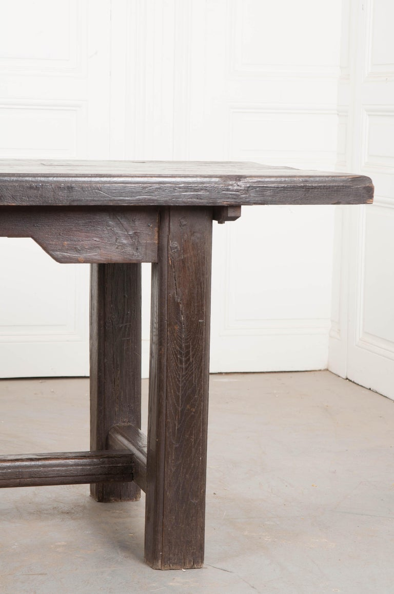 French 19th Century Provincial Oak Trestled Farm Table For Sale 1