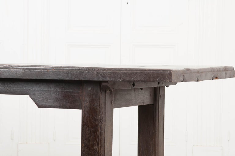 French 19th Century Provincial Oak Trestled Farm Table For Sale 2