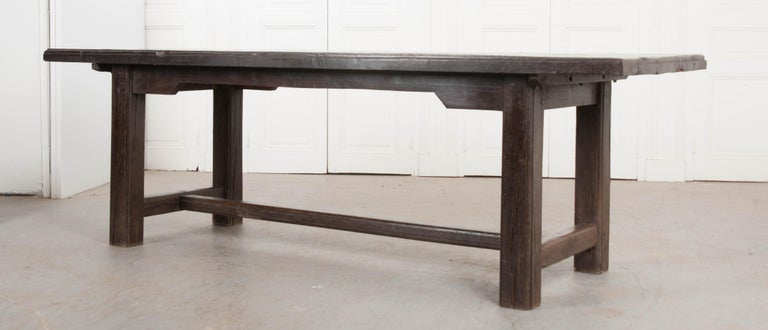 French 19th Century Provincial Oak Trestled Farm Table For Sale 4