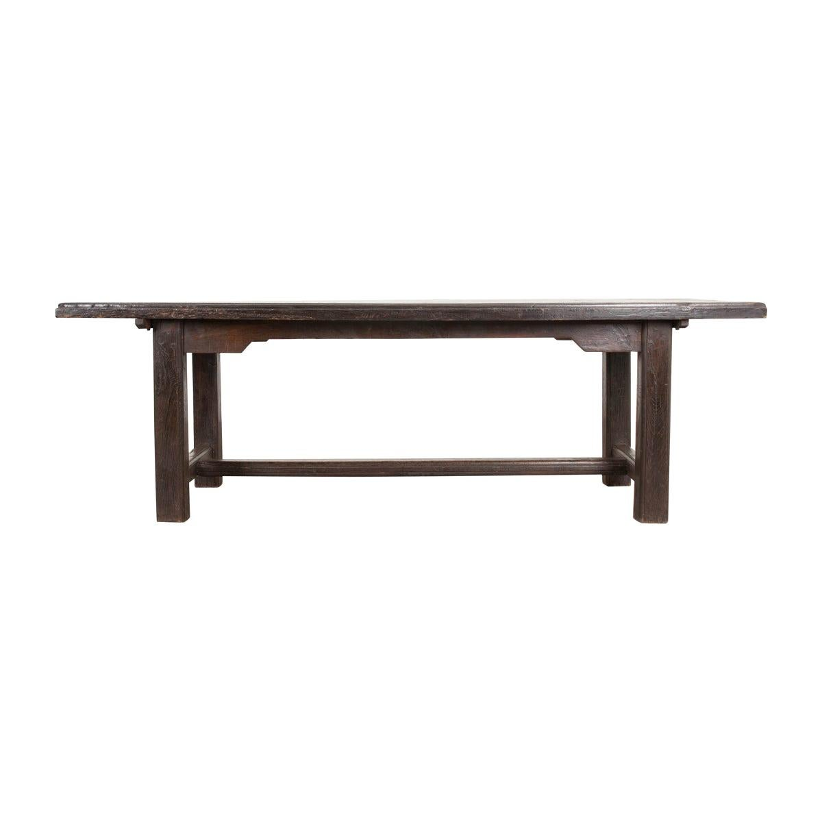 French 19th Century Provincial Oak Trestled Farm Table