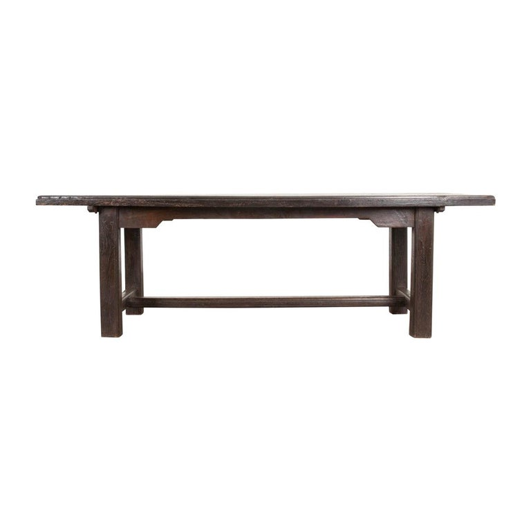 French 19th Century Provincial Oak Trestled Farm Table For Sale