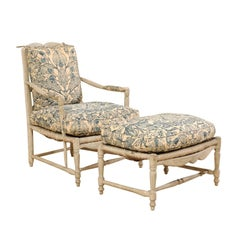 French 19th Century Provincial Painted Wood Lounge Chair and Ottoman