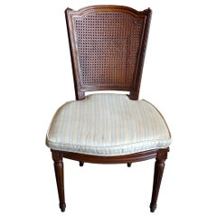 French 19th Century Rattan Stained Side Chair with Fitted Cushion