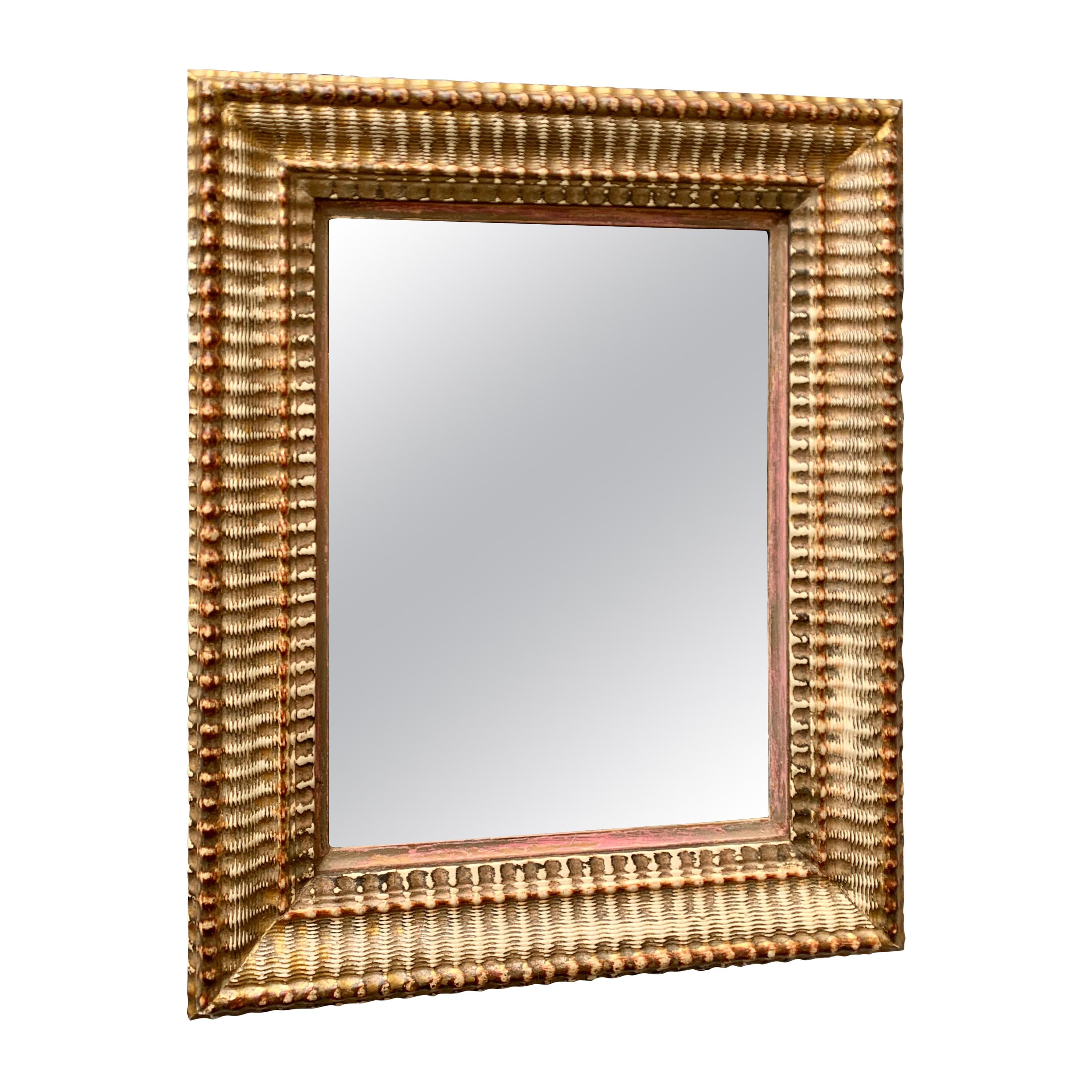 French 19th Century Rectangular And Bevelled Guilted Mirror