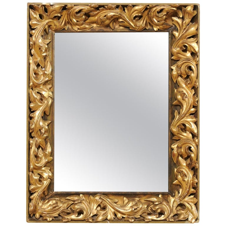 French 19th Century Rectangular-Shaped, Rococo Carved and Giltwood Mirror For Sale