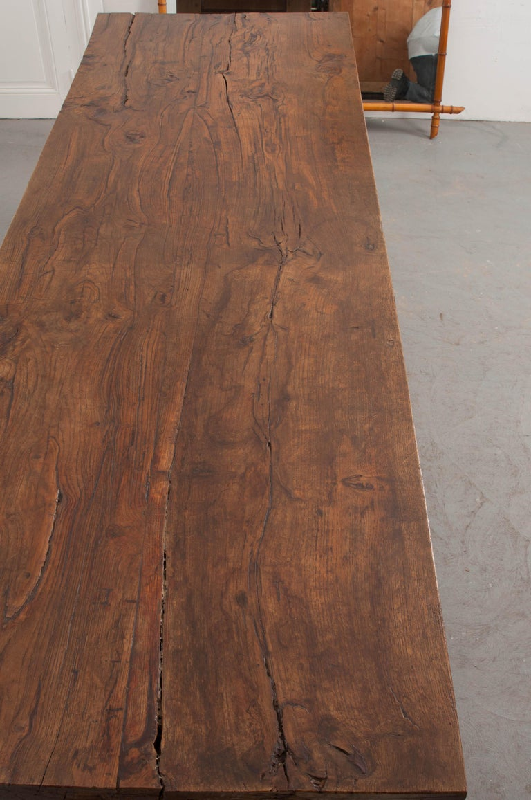 Carved French 19th Century Refectory-Style Oak Farmhouse Table For Sale