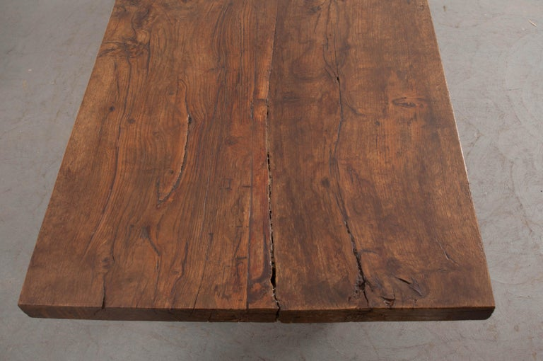French 19th Century Refectory-Style Oak Farmhouse Table In Good Condition For Sale In Baton Rouge, LA