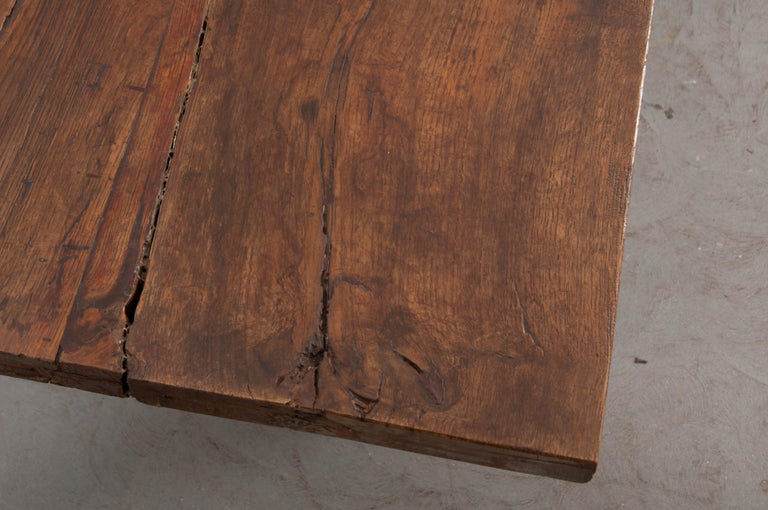 Steel French 19th Century Refectory-Style Oak Farmhouse Table For Sale