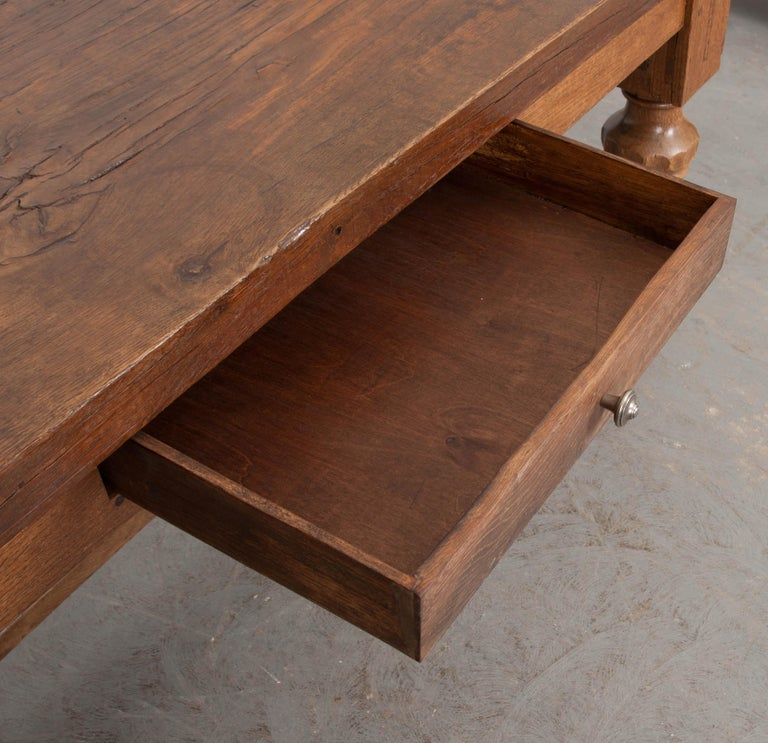 French 19th Century Refectory-Style Oak Farmhouse Table For Sale 2