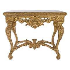 French 19th-Century Regence St. Giltwood Console with Marble Top