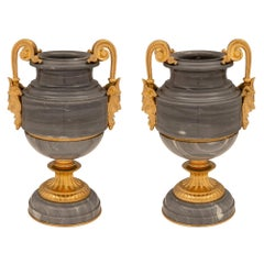 French 19th Century Renaissance St. Gris St. Anne Marble and Ormolu Urns