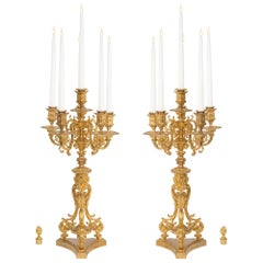 French 19th Century Renaissance St. Ormolu Candelabras Signed F. Barbedienne