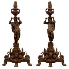 French 19th Century Renaissance St. Patinated Bronze Andirons
