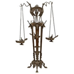 French 19th Century Renaissance Style Patinated Bronze Oil Lamps on Stand