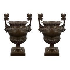 French 19th Century Renaissance St. Patinated Bronze Urn