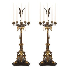 French 19th Century Renaissance Style Ormolu and Patinated Bronze Candelabras