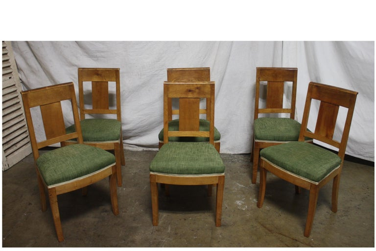French 19th century restauration dining room chairs.